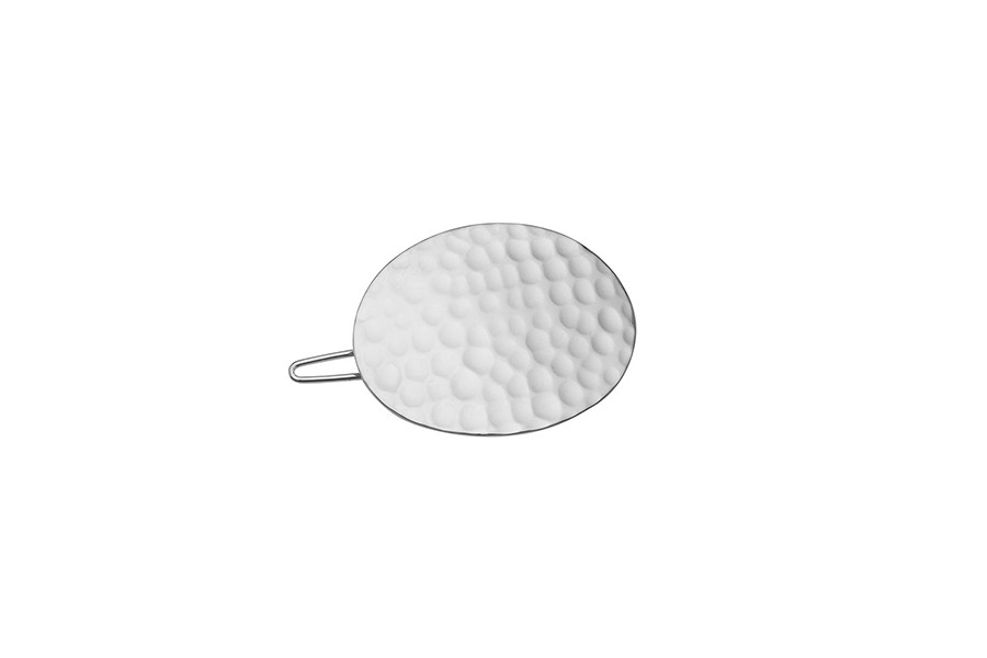 HAIRCLIP HAMMERED OVAL silver