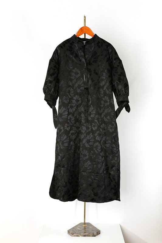 DRESS CRESPI jacquard, black